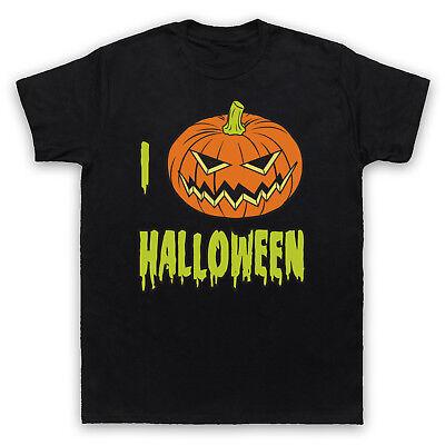 I LOVE HALLOWEEN PUMPKIN COOL CUTE HORROR CELEBRATION MENS WOMENS KIDS T-SHIRT (Halloween Cool Pumpkins)