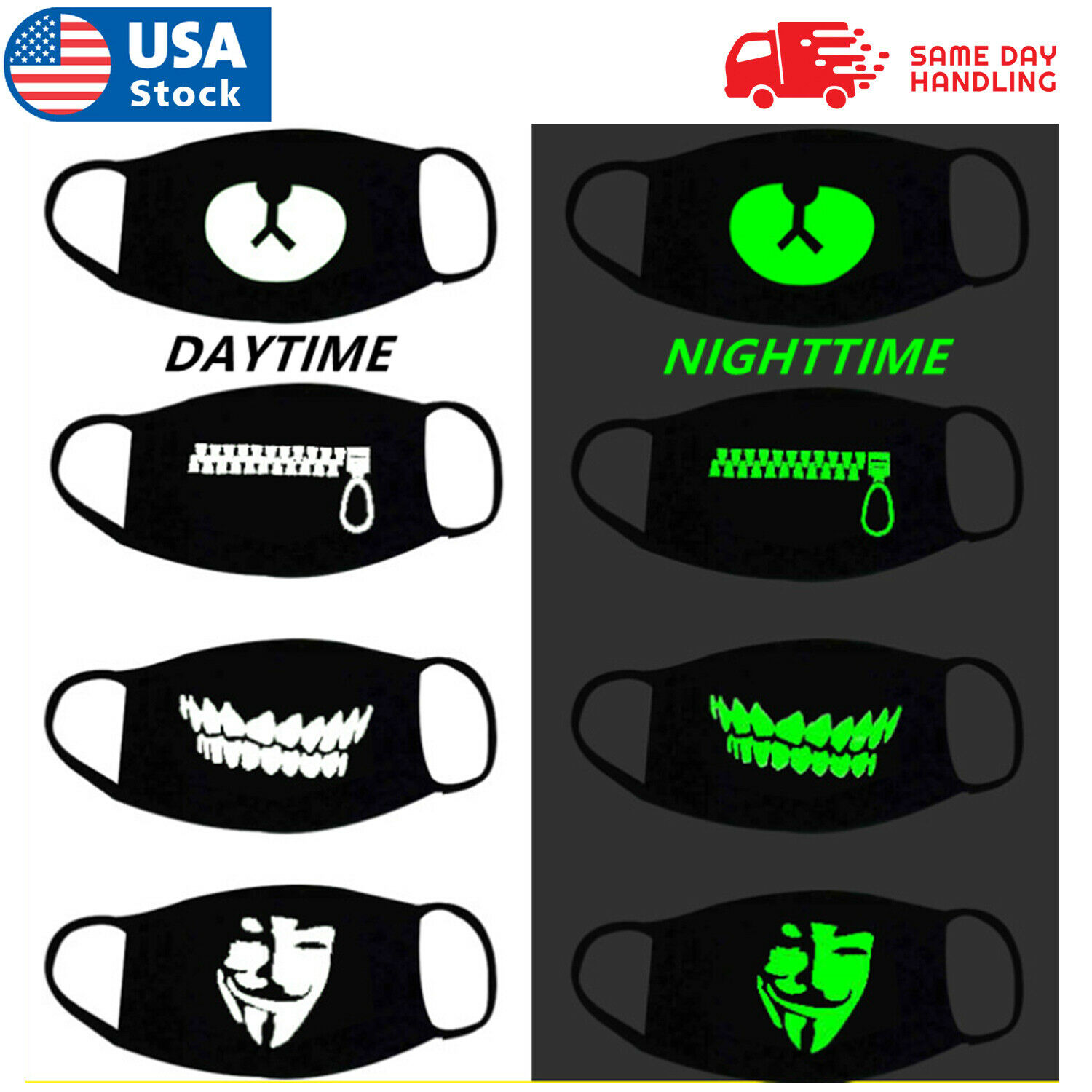Adult Washable Protective Face Mask – Luminous Night Glow in the Dark Masks Accessories