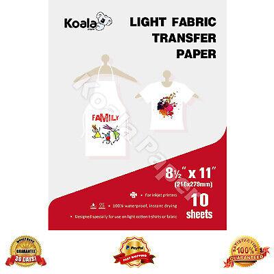 Koala 10 Sheets 8.5x11 Light 100 Cotton Heat Transfer Paper T-shirt Iron-on