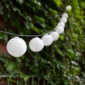 10x Solar Powered White Chinese Lantern LED Garden String Lights shabby chic