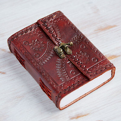 Indra Fair Trade Medium Embossed Stitch Leather Journal Diary Clasp 2nd Quality