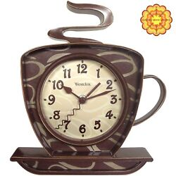Coffee Mug Wall Clock Decoration Home Cute Cool Gift Kitchen 3D Battery Operated