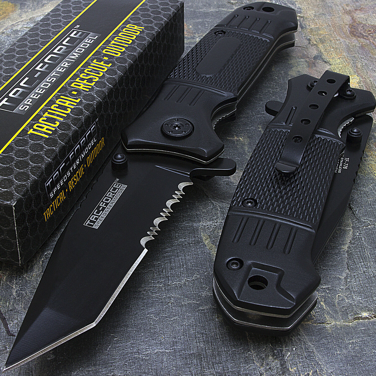 Купить Tac-Force - 7.75 TAC FORCE HALF SERRATED TANTO SPRING ASSISTED TACTICAL FOLDING KNIFE Blade