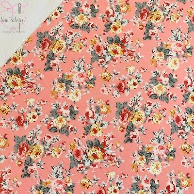 Rose and Hubble Rose Pink Bunch of Peonies Floral Fabric Vintage Floral 100% Cot
