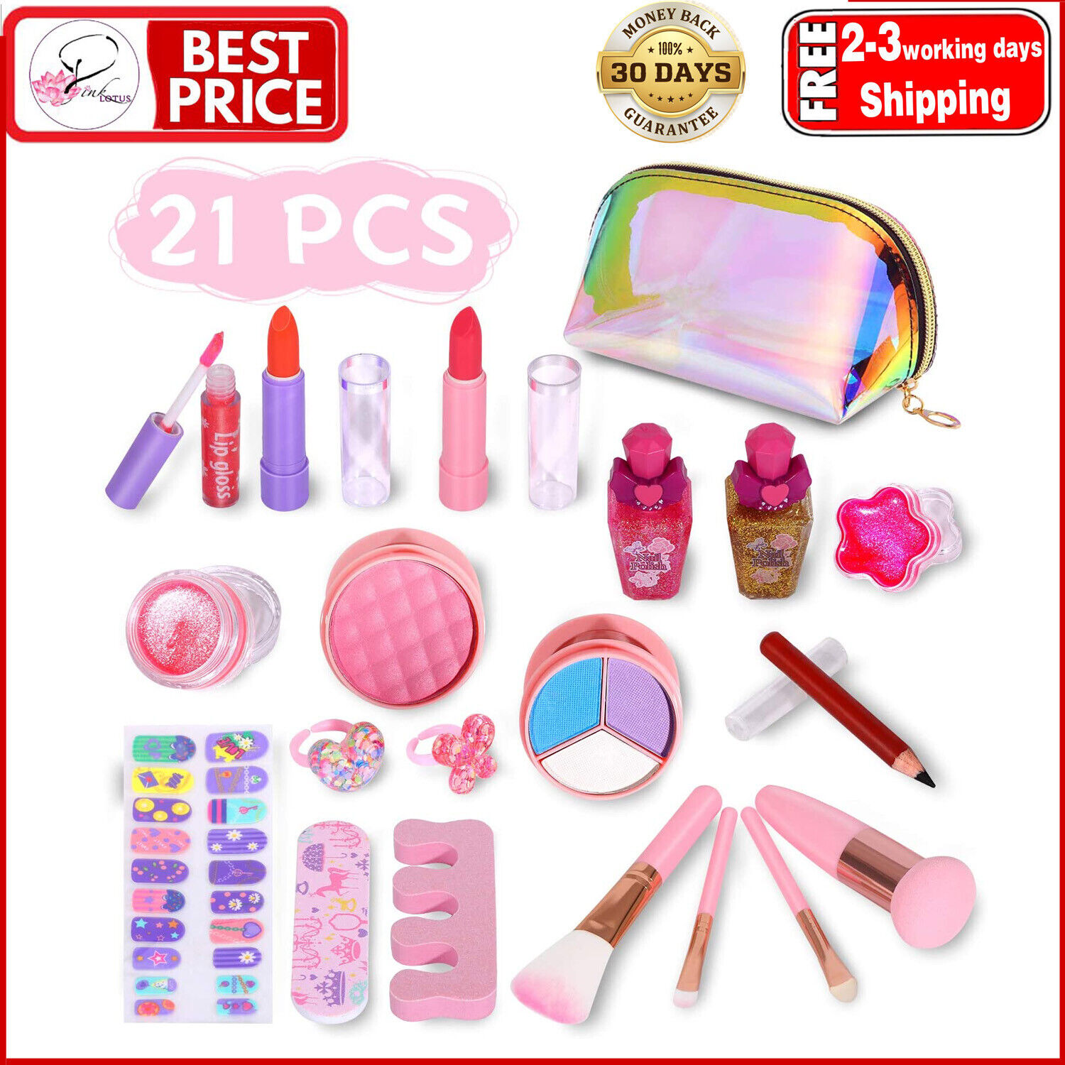 Kids Cosmetics Make Up Set With Cute Cosmetic Bag Washable Play Makeup For Litt Ebay