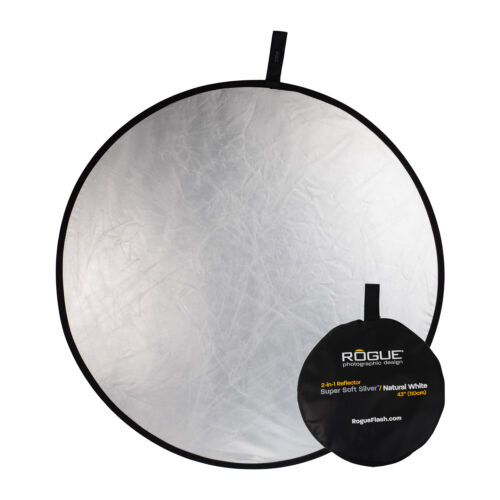 """Rogue 43"""" 2-in-1 Super Soft Silver / Natural White Collapsible Reflector"""
