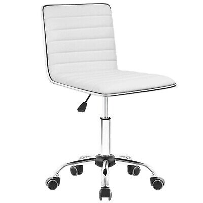 Chair Desk Chair Mid Back Armless Vanity Chair Swivel Office Rolling Leather