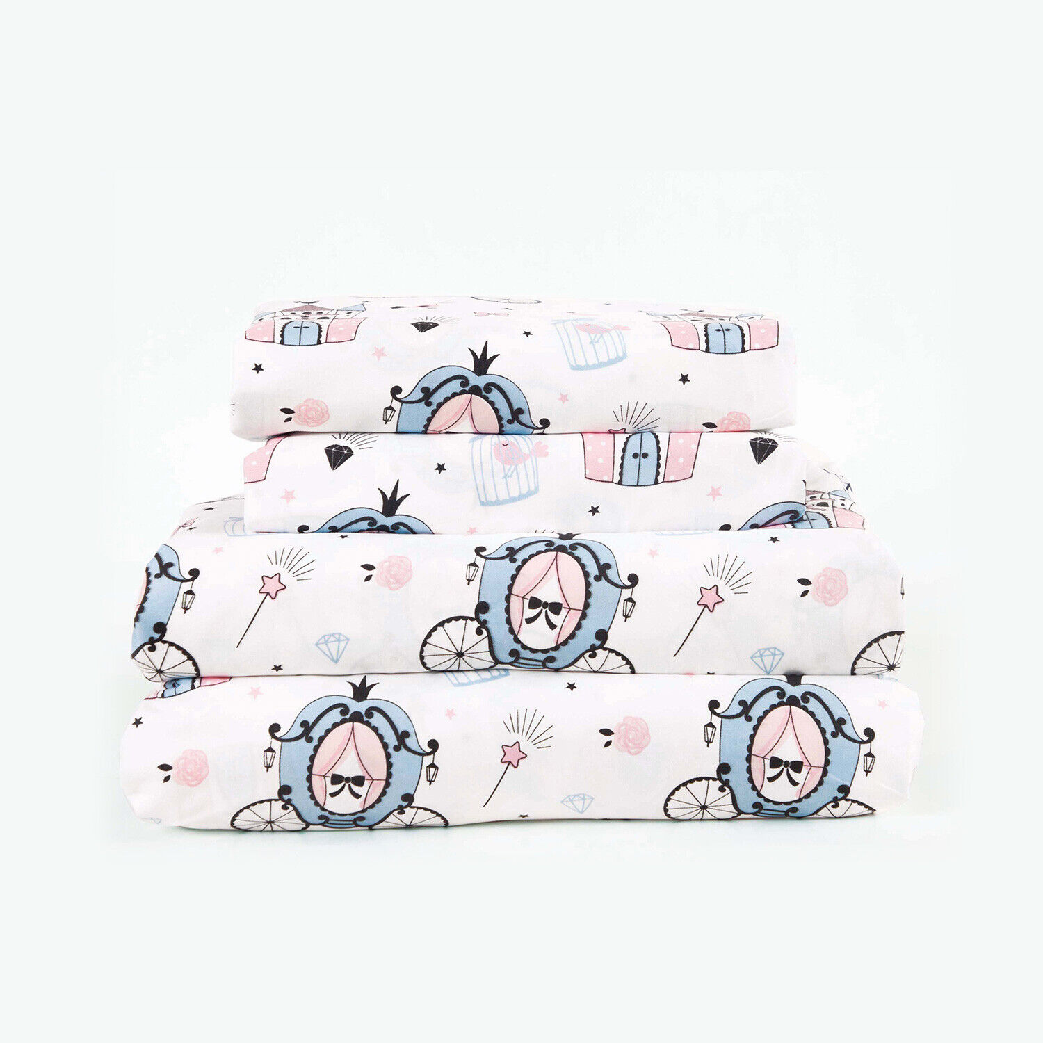 Twin, Full or Queen Princess Carriage Microfiber Bed Sheet Set Deep Pocket, Pink Bedding