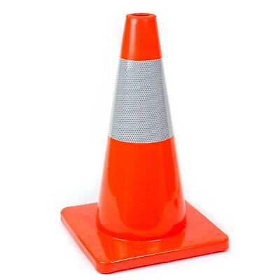 18 Rk Orange Safety Traffic Pvc Cones Orange Base With One Reflective Collar
