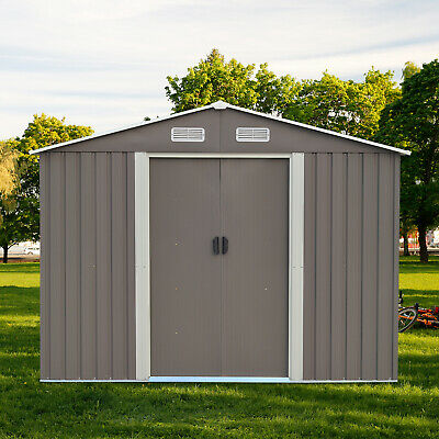 8'x8' Outdoor Garden Shed Storage Backyard Lawn Utility Toolshed Patio Gray Shed