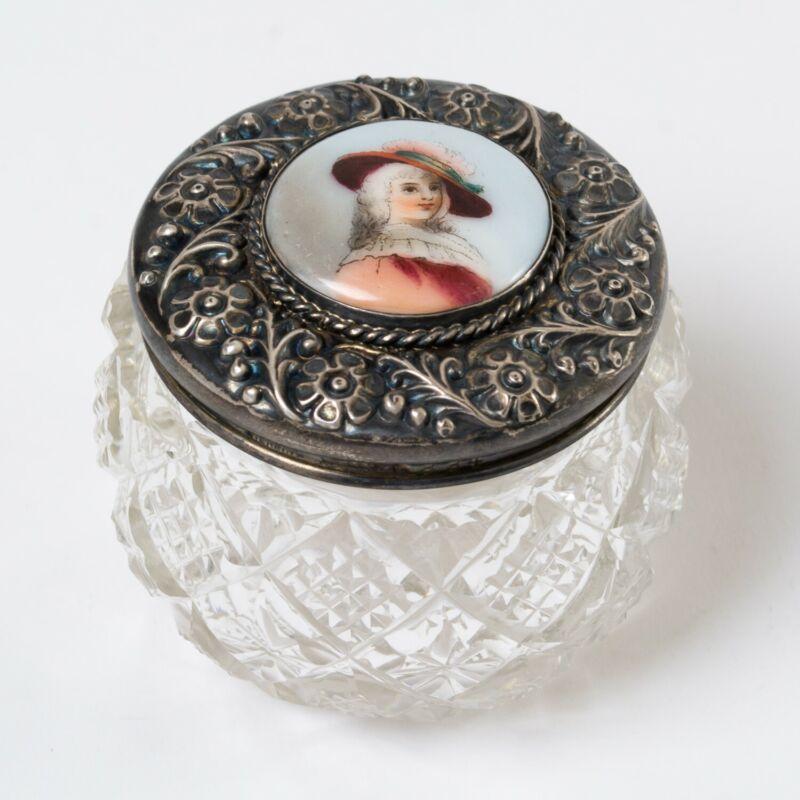 Antique Cut Crystal Dresser Jar w Sterling Silver Lid Painted Porcelain Portrait