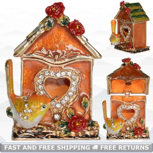 Birdhouse Miniature Jewelry Trinket Box With Hinged Lid Enamel Bejeweled Crystal