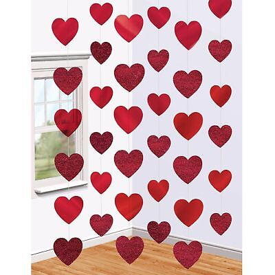 Valentines Day Decor (6 x 7ft Red Heart String Valentines Day Decorations Engagement Wedding Party)