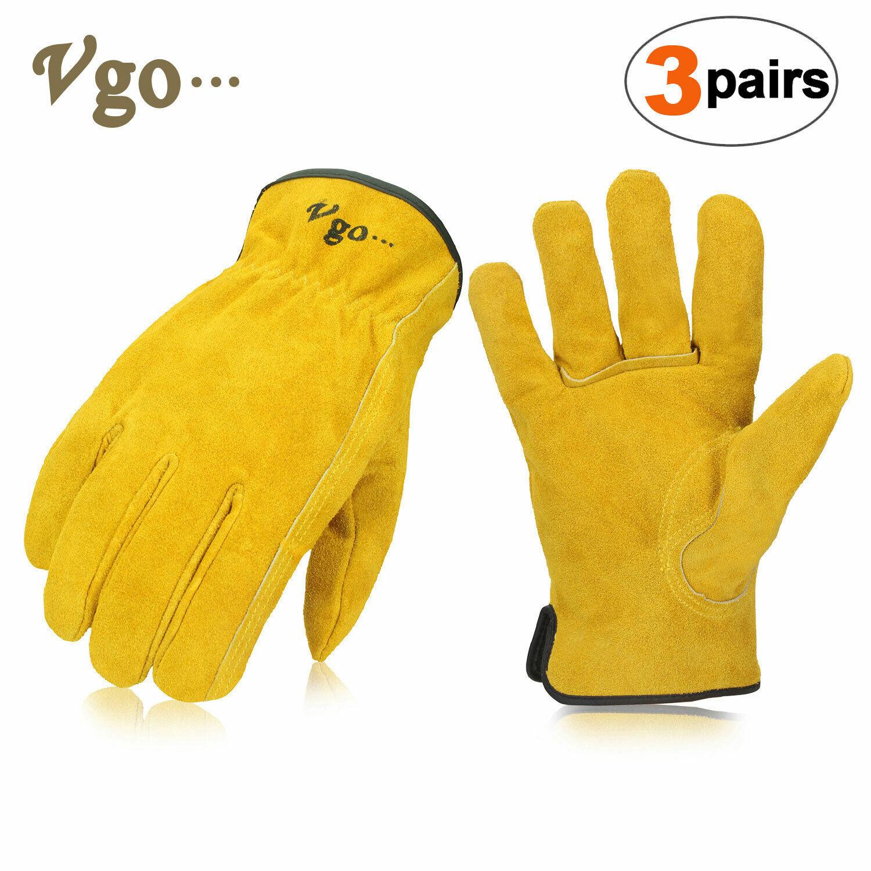 Vgo 1Pair/3Pairs/9Pairs Cowhide Split Leather Work,Driver,DIY Gloves(CB9501-G) 3 Pairs