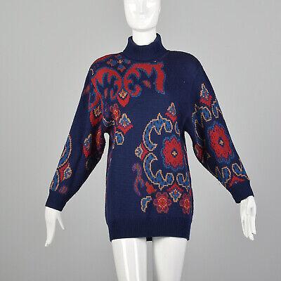 80s Sweatshirts, Sweaters, Vests | Women S Navy Floral Turtleneck Sweater 1980s Wool Thick Knit Oversized Jumper 80s VTG $91.80 AT vintagedancer.com