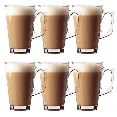 Set Of 6 240ml Coffee Cappuccino Tassimo Costa Tea Cafe Latte Mugs Glasses Cups