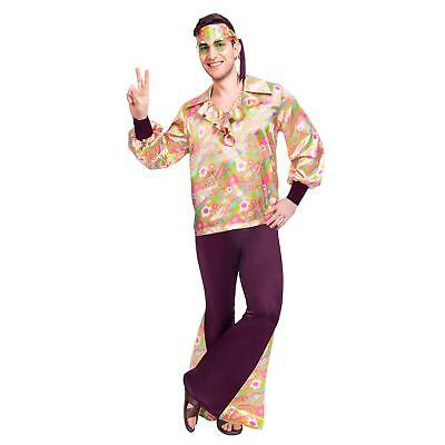Mens Fancy Dress Groovy Old School Cool Hippie Guy 60s 70s 80s Costume Outfit