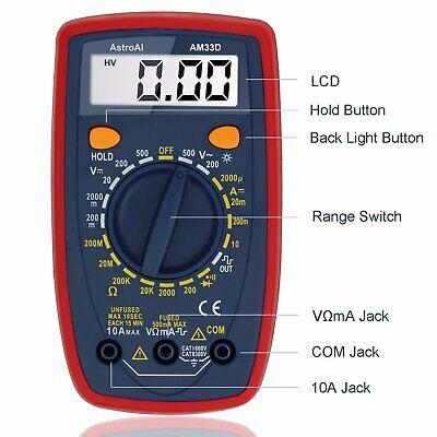 Digital Multimeter W Ohm Volt Amp And Diode Voltage Tester Meter For Measuring