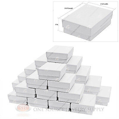 25 White Swirl Cardboard Cotton Filled Jewelry Gift Boxes 3 14 X 2 14 X 1