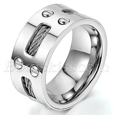 10mm Wide Men's Stainless Steel Ring Cables Screw Design Wedding Band Size 7-13