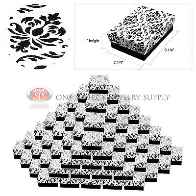 "100 Damask Print Gift Jewelry Cotton Filled Boxes 3 1/4"" x 2 1/4"" x 1"" Bracelets"