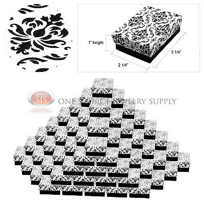 100 Damask Print Gift Jewelry Cotton Filled Boxes 3 14 X 2 14 X 1 Bracelets