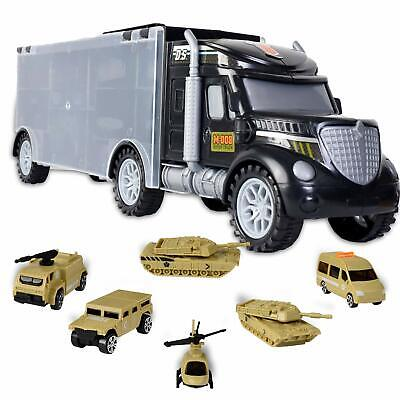 WolVol Military Transport Car Carrier Truck Toy with Army Battle Cars & Choppers