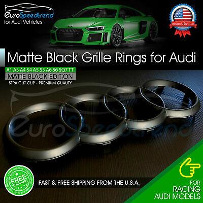 Audi Front Rings Matte Black Grille Emblem Badge for A1 A3 A4 S4 A5 S5 A6 S6 TT