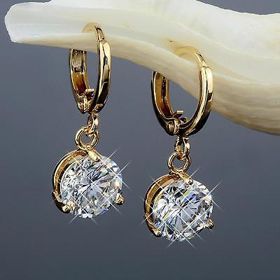 Ohrringe Zirkonia 8 mm Kristall weiss 750er Gold 18 Karat vergoldet O1254-1