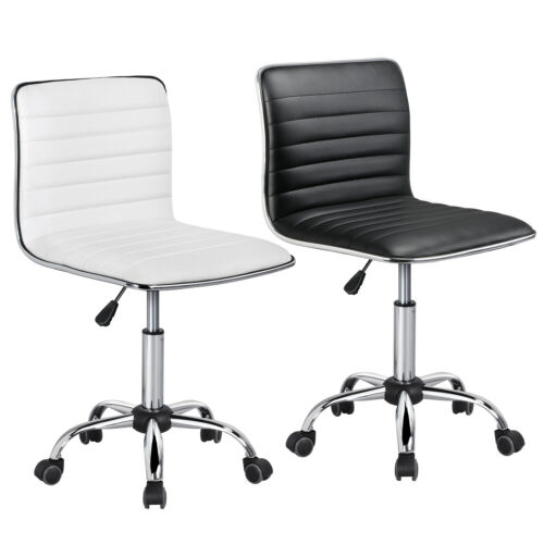 low back armless desk chair ribbed armless