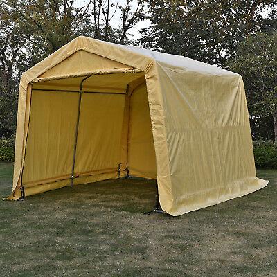 10x10x8FT Heavy Duty Outdoor Carport Portable Garage Caravan Car Shelter Beige