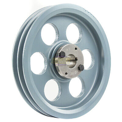 Cast Iron 8.25 2 Groove Dual Belt A Section 4l Pulley With H-1 Sheave Bushing