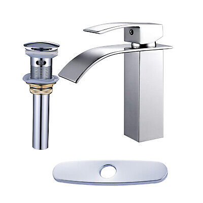 Chrome Bathroom Sink Faucet (Bathroom Sink Faucet Chrome Waterfall Basin Mixer Tap With Cover And Drain )