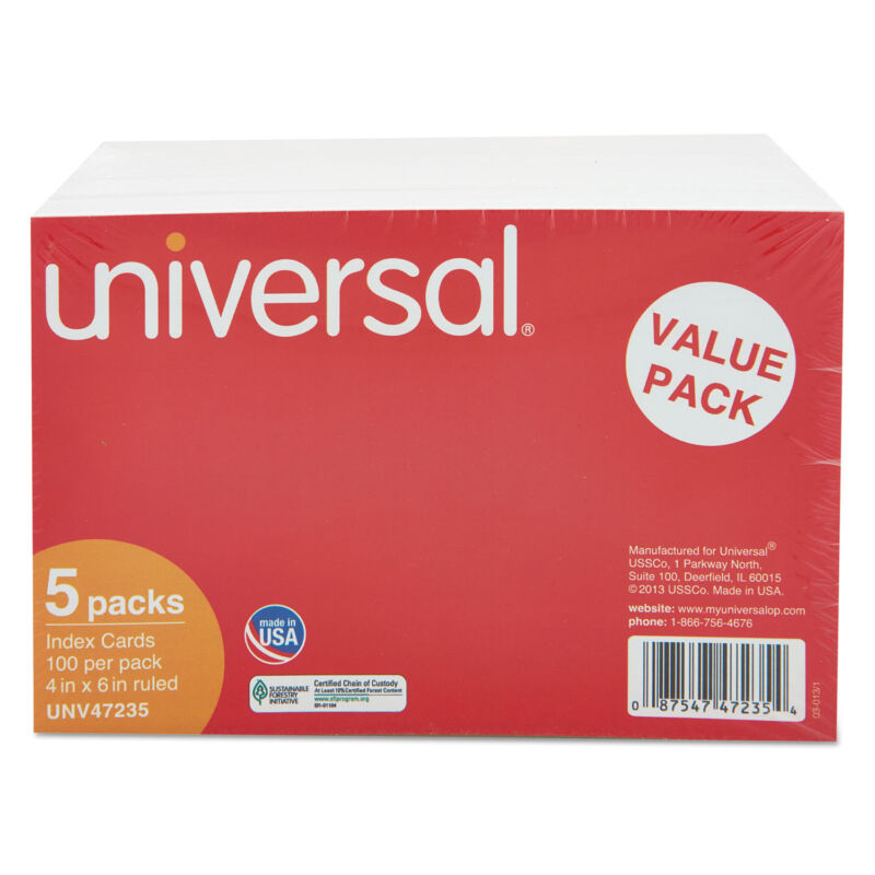 UNIVERSAL Ruled Index Cards 4 x 6 White 500/Pack 47235