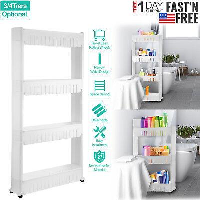 3/4 Tier Rolling Shelf Rack Slim Kitchen Holder Storage Cart Mobile Unit Durable 4 Shelf Mobile Cart