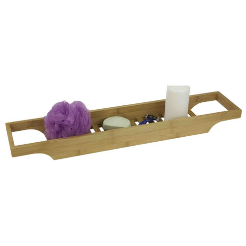 Home Basics Bamboo Bathroom Accessory Collection Bathtub Caddy Bath