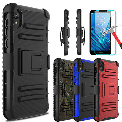 For Motorola Moto E6 Case With Kickstand Belt Clip Cover+Glass Screen (Glasses Case With Belt Clip)