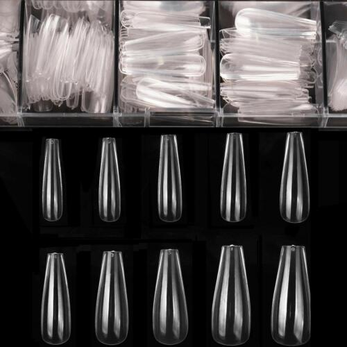 500pcs Coffin Nails Clear Ballerina Fake Nails Tips Long Full Cover