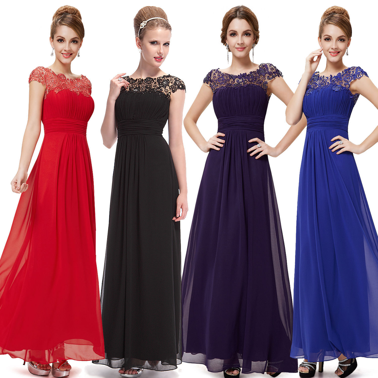 Long Maxi Evening Bridesmaid Formal Party Prom Dress Gown Size 8 -18 UK N51