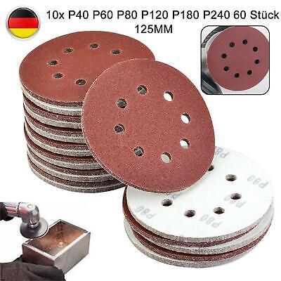 60x Schleifscheiben Exenter 125mm 8 Loch Kletthaftend Schleifpapier Set P40-P240