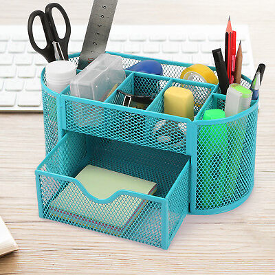Desk Organizer Metal Mesh Office Pen Pencil Holder Storage Desktop Tray Blue - Office Trays
