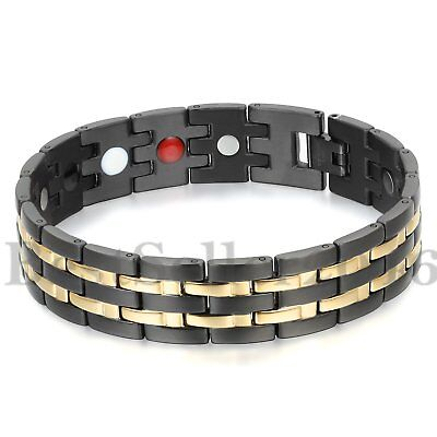 Mens Magnetic Therapy Health Bracelet Power Elements Chain Link Biker Bangle (Mens Magnetic Therapy)