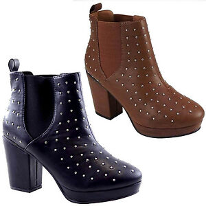 LADIES-WOMENS-TAN-MID-HEEL-STUDDED-CHELSEA-BOOTS-SHOES-3-8