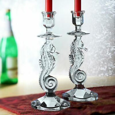 "Waterford Crystal Seahorse Set of 2 11.5"" Candlesticks"