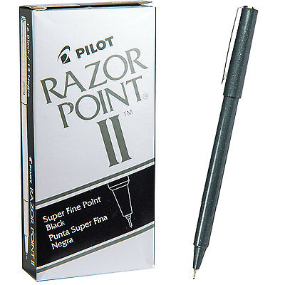 Pilot Razor Point Ii 11009 Black 0.2mm Super Fine Plastic Point Pens 1 Dozen