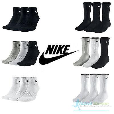 Nike 3 Pairs Mens Ladies Cushioned Crew Quarter Gym Socks Womens Cotton Sports