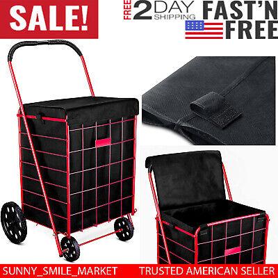 Folding Shopping Cart Liner Rolling Utility Black Trolley Wheels Basket Hood Bag