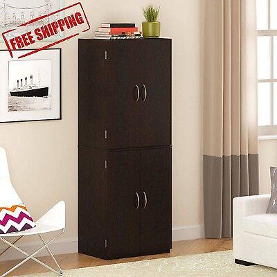 Storage Cabinet Kitchen Pantry Organizer Wood Furniture Cupboard Cinnamon Cherry