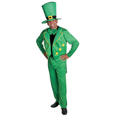 Adult LEPRECHAUN Costume L/XL St Patrick Day Leprachaun 4pc Hat Jacket Tie Pants - St Patrick Day Costumes