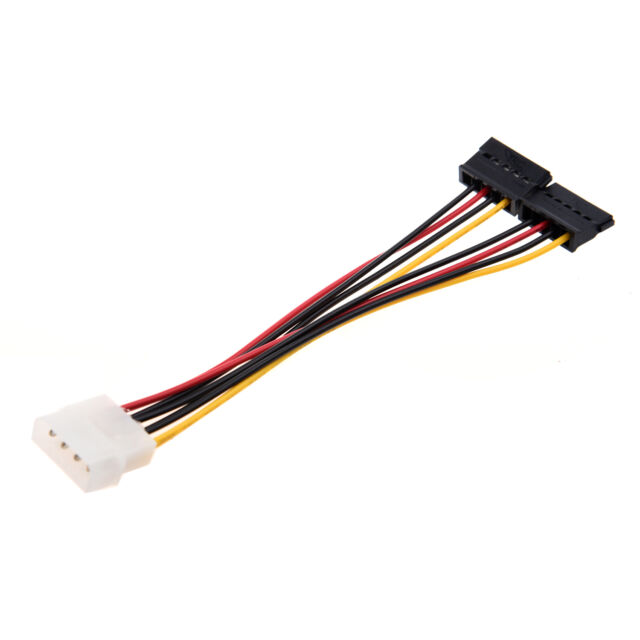 D6 5.5 Inches 4 Pin to 2x 15 Pin SATA Power Cable for Computers